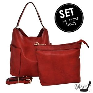 Pebbled Vegan Leather Handbag & Crossbody Set
